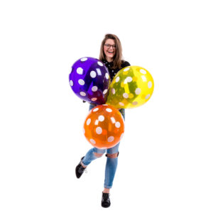 "BALLOONS UNITED - QUALATEX Round Balloon 16"" (40cm) Polka Dots Crystal"