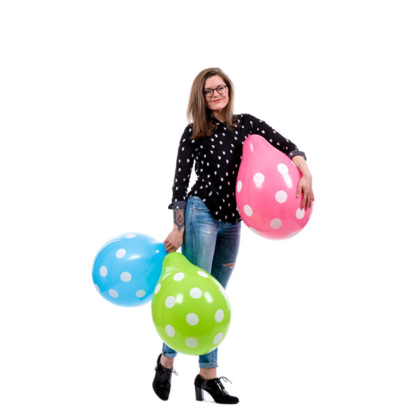 "BALLOONS UNITED - QUALATEX Round Balloon 16"" (40cm) Polka Dots Standard"