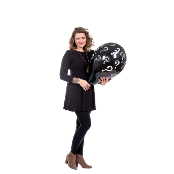 """BALLOONS UNITED - QUALATEX Round Balloon 16"""" (90cm) Questionmarks"""