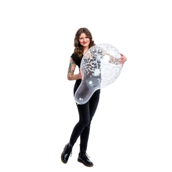 "BALLOONS UNITED - QUALATEX Stuffer Balloon 18"" (46cm) Filigree & Hearts"