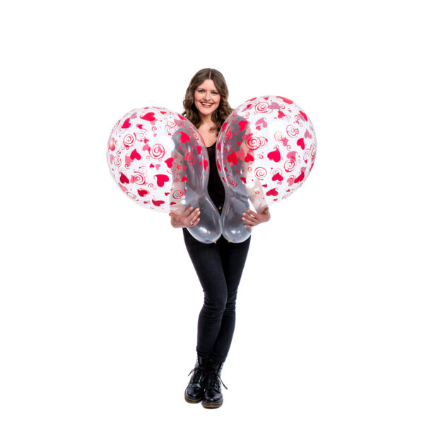 "BALLOONS UNITED - QUALATEX Stuffer Balloon 18"" (46cm) Swirling Hearts"